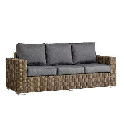 Camari Mocha Square Arm Wicker Outdoor Sofa with Gray Cushion