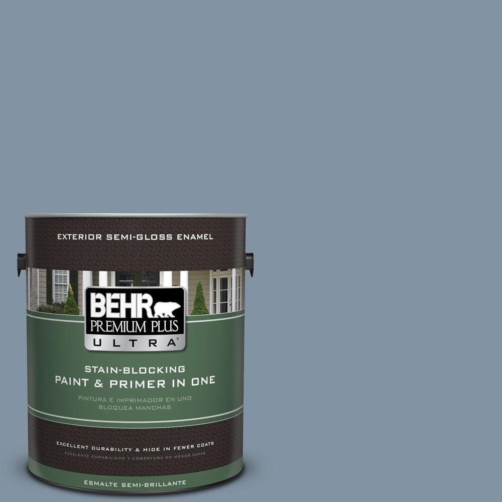 BEHR Premium Plus Ultra 1-gal. #PPU14-6 Coastal Vista Semi-Gloss Enamel Exterior Paint
