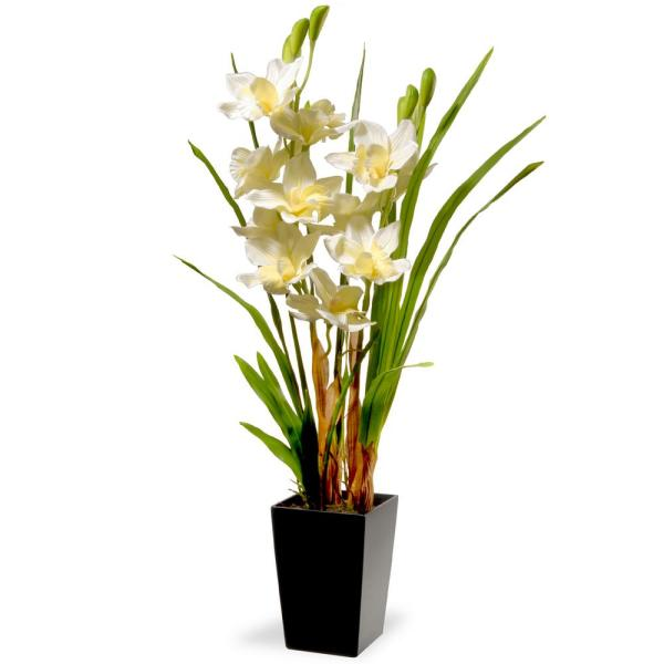 National Tree Company 31 in. White Orchid Flowers NF36-5290S