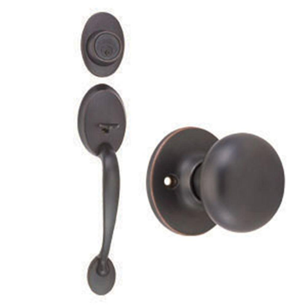 Design House Coventry Oil-Rubbed Bronze Handleset with Single Cylinder Deadbolt, Cambridge Knob Interior and Universal 6-Way Latch