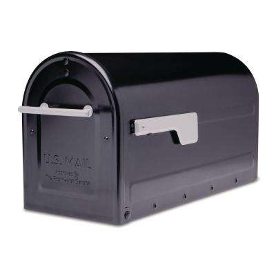 Boulder Post Mount Mailbox Black with Premium Silver Handle and Silver Flag