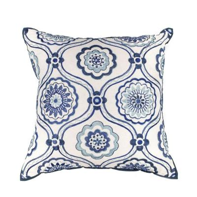 Fanfare Ivory and Blue Geometric Hypoallergenic Polyester 18 in. x 18 in. Throw Pillow