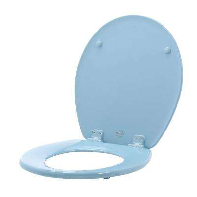 Lift-Off Never Loosens Round Closed Front Toilet Seat in Sky Blue