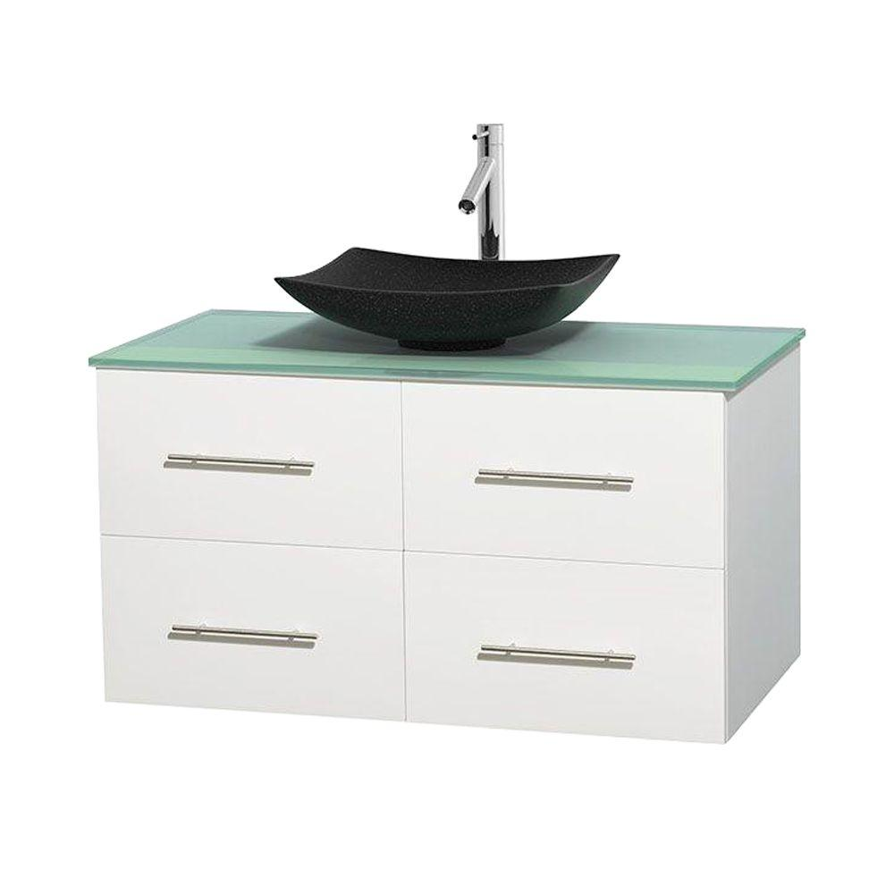 Wyndham Collection Centra 42 in. Vanity in White with Glass Vanity Top in Green and Black Granite Sink