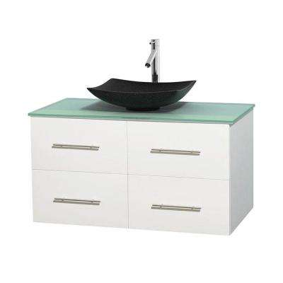Centra 42 in. Vanity in White with Glass Vanity Top in Green and Black Granite Sink