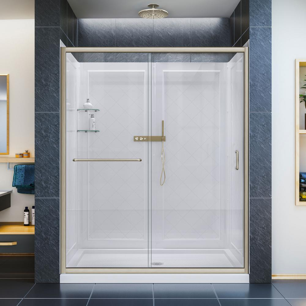 DreamLine Infinity-Z 32 in. x 60 in. Semi-Frameless Sliding Shower Door in Brushed Nickel with Center Drain Base and BackWalls