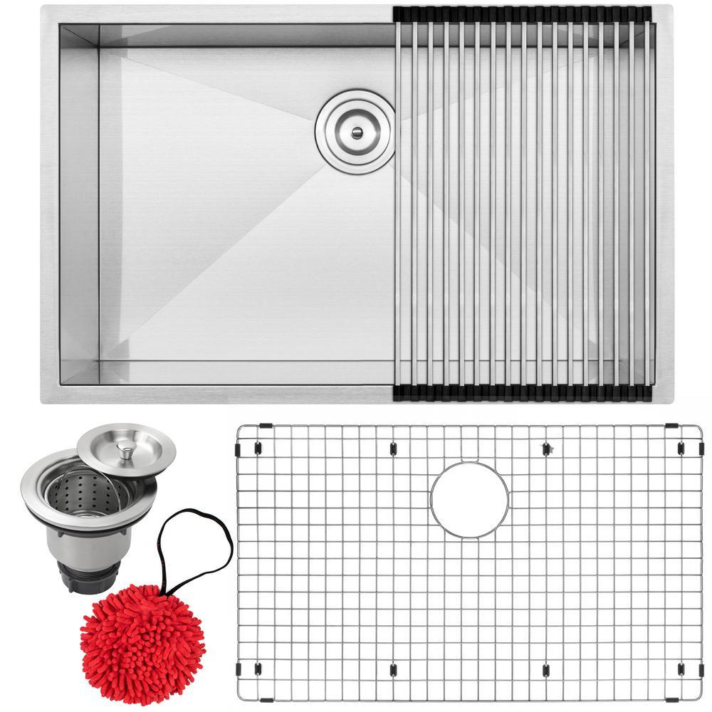 Pacific Zero Radius Undermount 16-Gauge Stainless Steel 30 in. Single Basin Kitchen Sink with Accessory Kit
