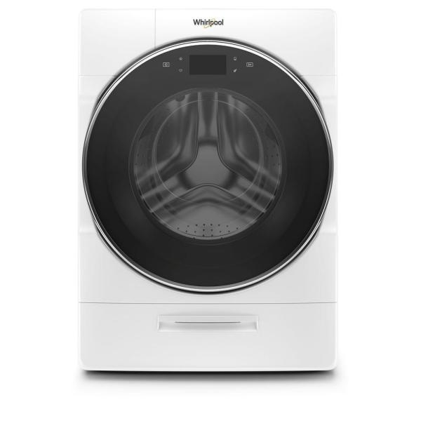27 in. 5.0 cu. ft. High Efficiency Smart White Stackable Front Load Washing Machine with Load and Go XL Plus Dispenser