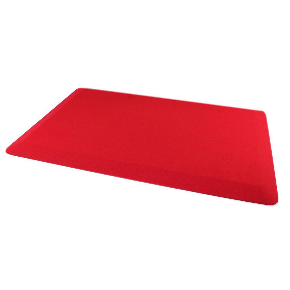 Red Standing Comfort 16 in. x 24 in. Luxury Anti-Fatigue Mat