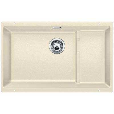 PRECIS Cascade Undermount Granite Composite 29 in. Single Bowl Kitchen Sink in Biscuit