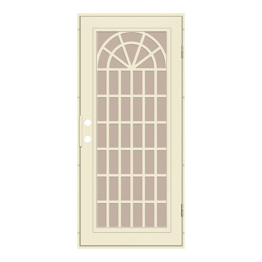 36 in. x 80 in. Trellis Beige Hammer Right-Hand Surface Mount Security Door with Desert Sand Perforated Metal Screen