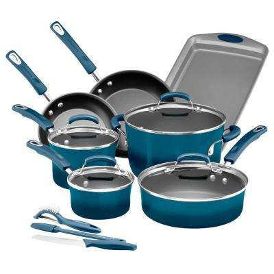 Classic Brights 14-Piece Agave Blue Porcelain Nonstick Cookware Set with Bakeware and Tools