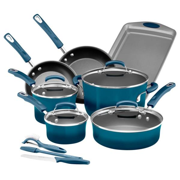 Rachael Ray Classic Brights 14-Piece Agave Blue Porcelain Nonstick Cookware Set