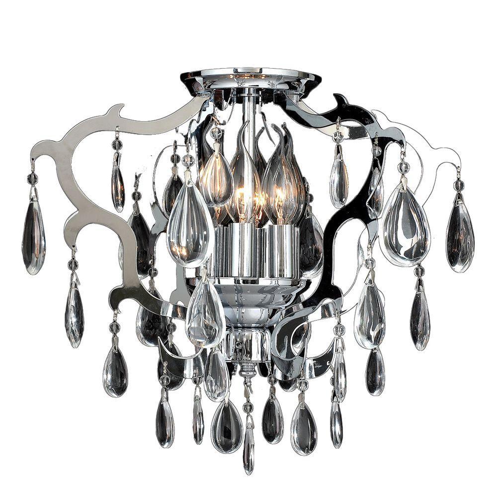 Henna Collection 6-Light Chrome Crystal Ceiling Light
