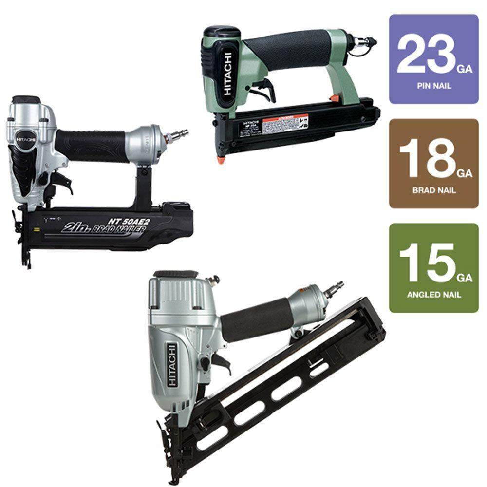 Hitachi 3-Piece 2-1/2 in. x 15-Gauge Angled Finish Nailer, 18-Gauge x 2 in. Finish Nailer and 23-Gauge 1-3/8 in. Pin Nailer Kit