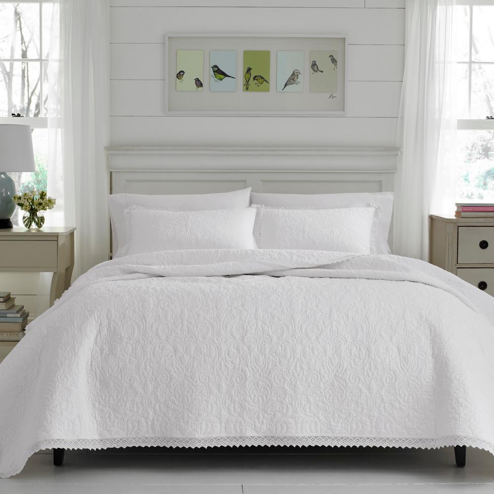 Heirloom Crochet 2-Piece White Twin Quilt Set
