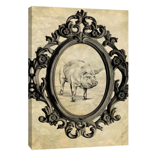 PTM Images 12 in. x 10 in. ''Framed Pig'' Printed Canvas Wall Art