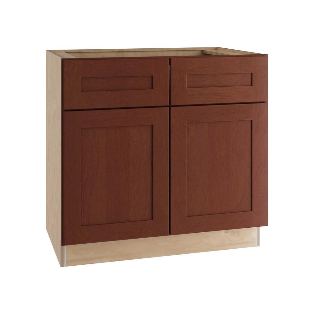 Kingsbridge Assembled 33x34.5x24 in. Sink Base Cabinet with False Drawer Front in Cabernet