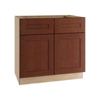 Kingsbridge Assembled 36x34.5x24 in. Sink Base Cabinet with False Drawer Front in Cabernet