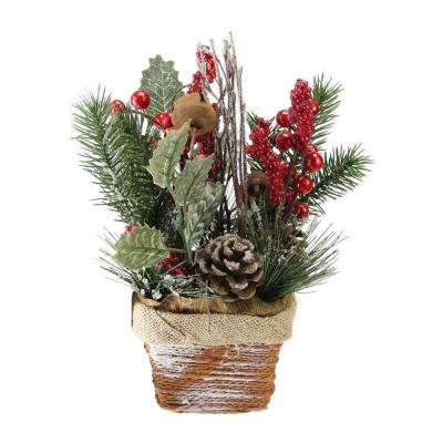 10.75 in. Artificial Red Berries Frosted Pine Needles and Twigs Christmas Arrangement