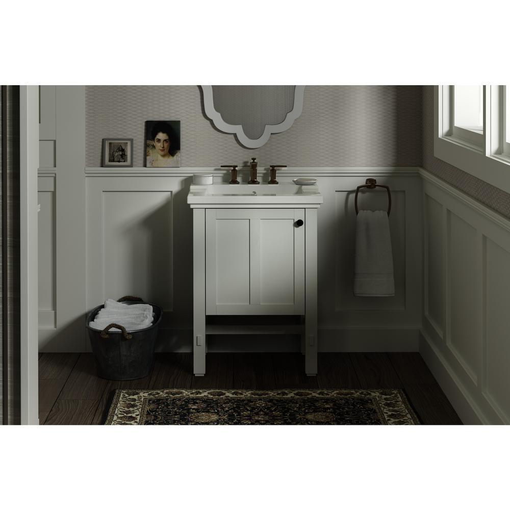 Tresham 24 in. W x 18-1/4 in. D Vanity in Linen White with Vitreous China Vanity Top in White with White Basin
