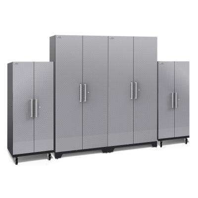 Performance Plus Diamond Plate 2.0 80 in. H x 128 in. W x 24 in. D Garage Cabinet Set in Silver (4-Piece)
