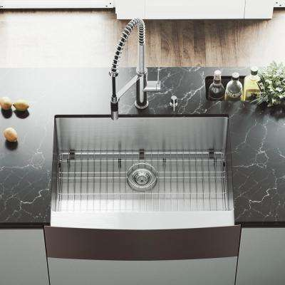 All-in-One Farmhouse Apron Front Stainless Steel 30 in. Single Bowl Kitchen Sink and Faucet Set in Chrome
