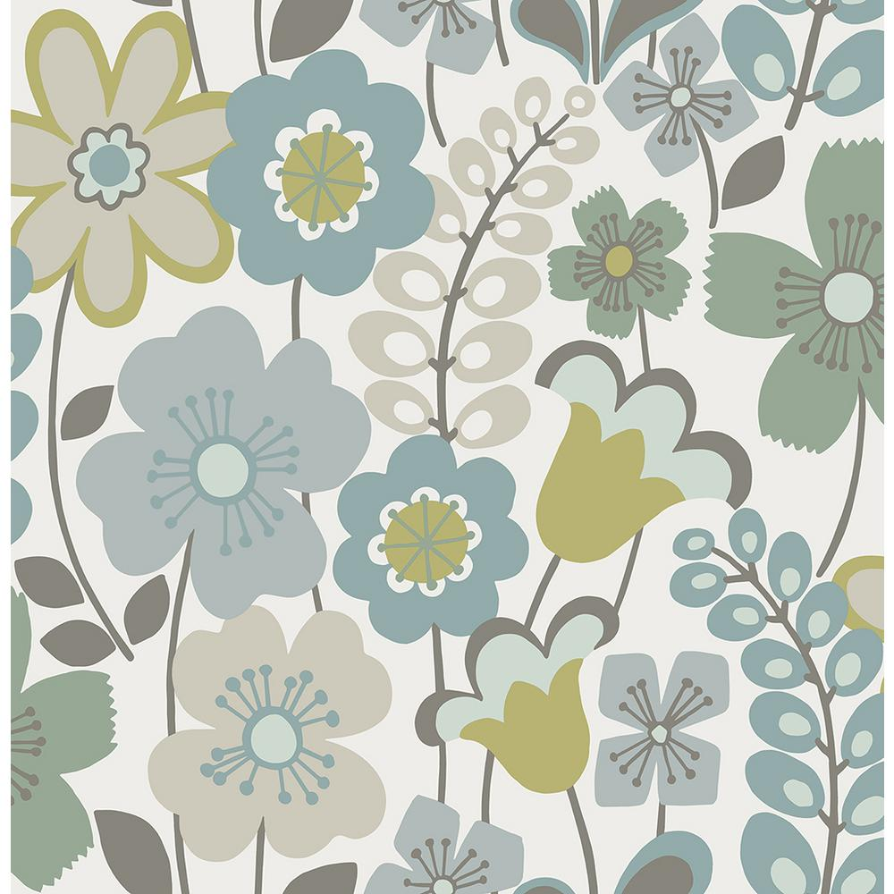 A Street 56 4 Sq Ft Piper Green Floral Wallpaper 2903 25827