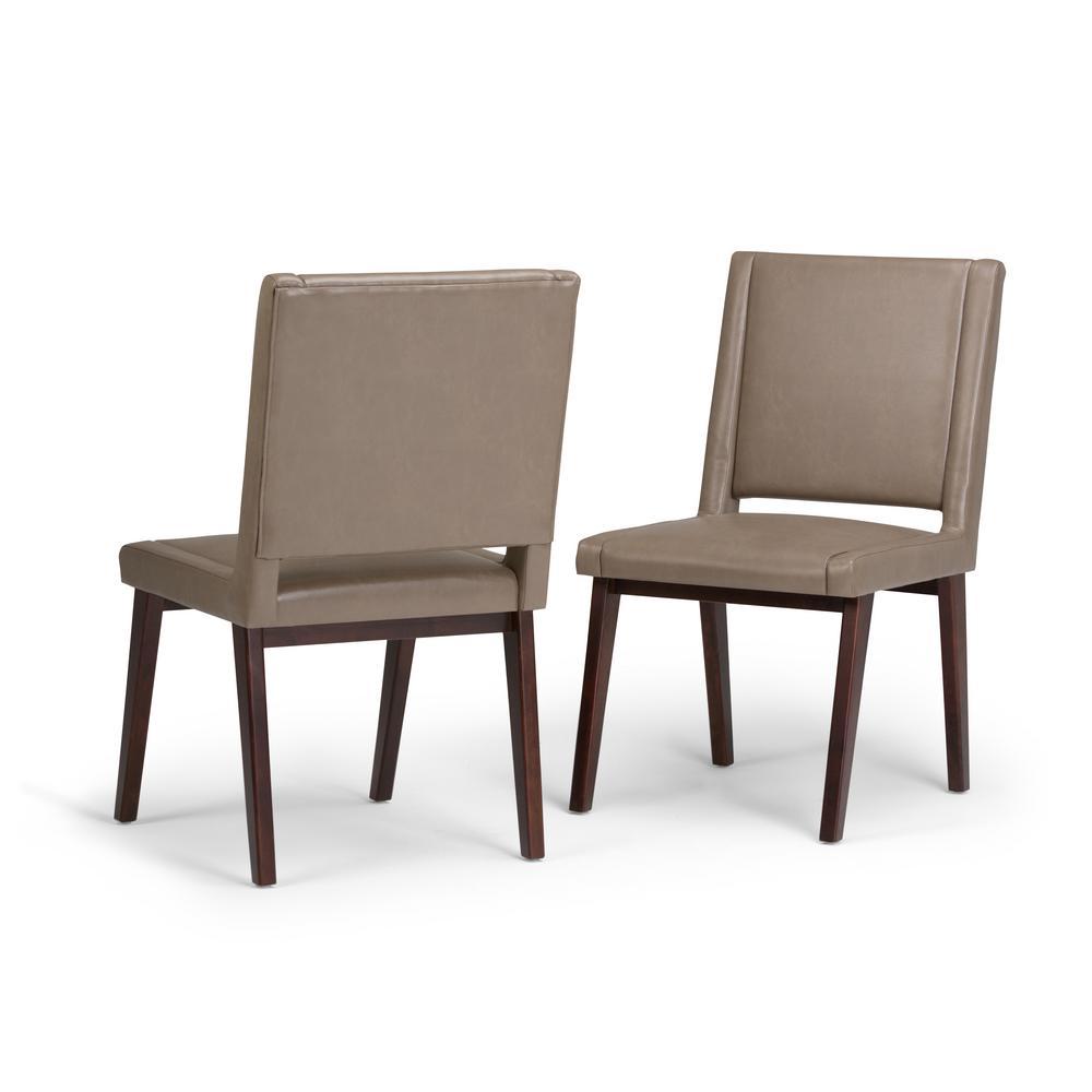 Ari Leather Dining Chair Ash: Simpli Home Draper Mid Century Ash Blonde PU Faux Leather