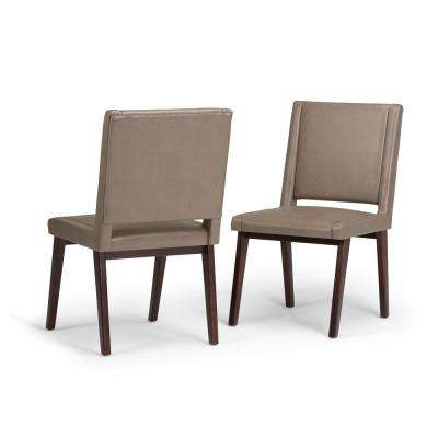 Draper Mid Century Modern Deluxe Dining Chair (Set of 2) in Ash Blonde Bonded Leather