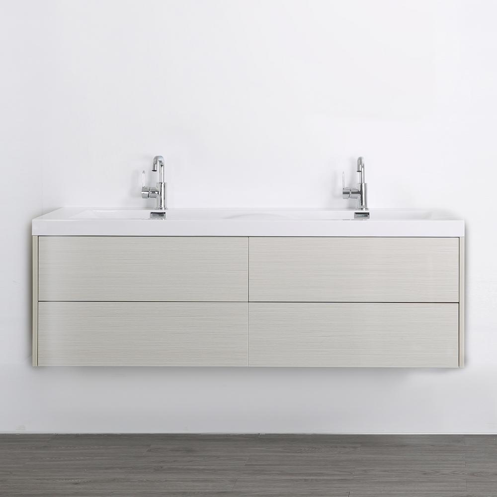 Streamline 63 in. W x 19.4 in. H Bath Vanity in Gray with Resin Vanity Top in White with White Basin