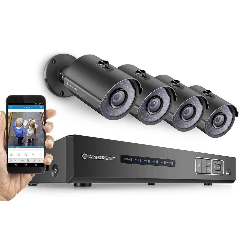 Amcrest 4-Channel 720 TVL 1.9TB Surveillance Systems  Security System with Weatherproof Bullet Cameras