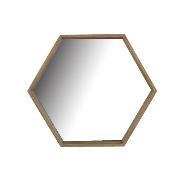 Medium Arched Natural Wood Modern Accent Mirror (25 in. H x 29 in. W)