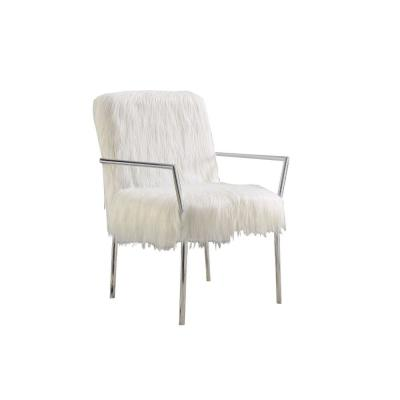 Elegantly White Faux Accent Chair