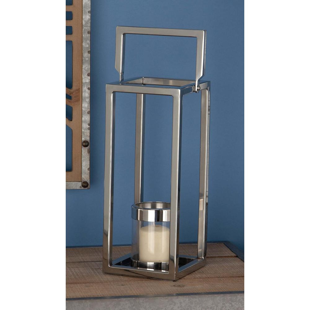 16 in. Silver Stainless Steel and Clear Glass Lantern Candle Holder