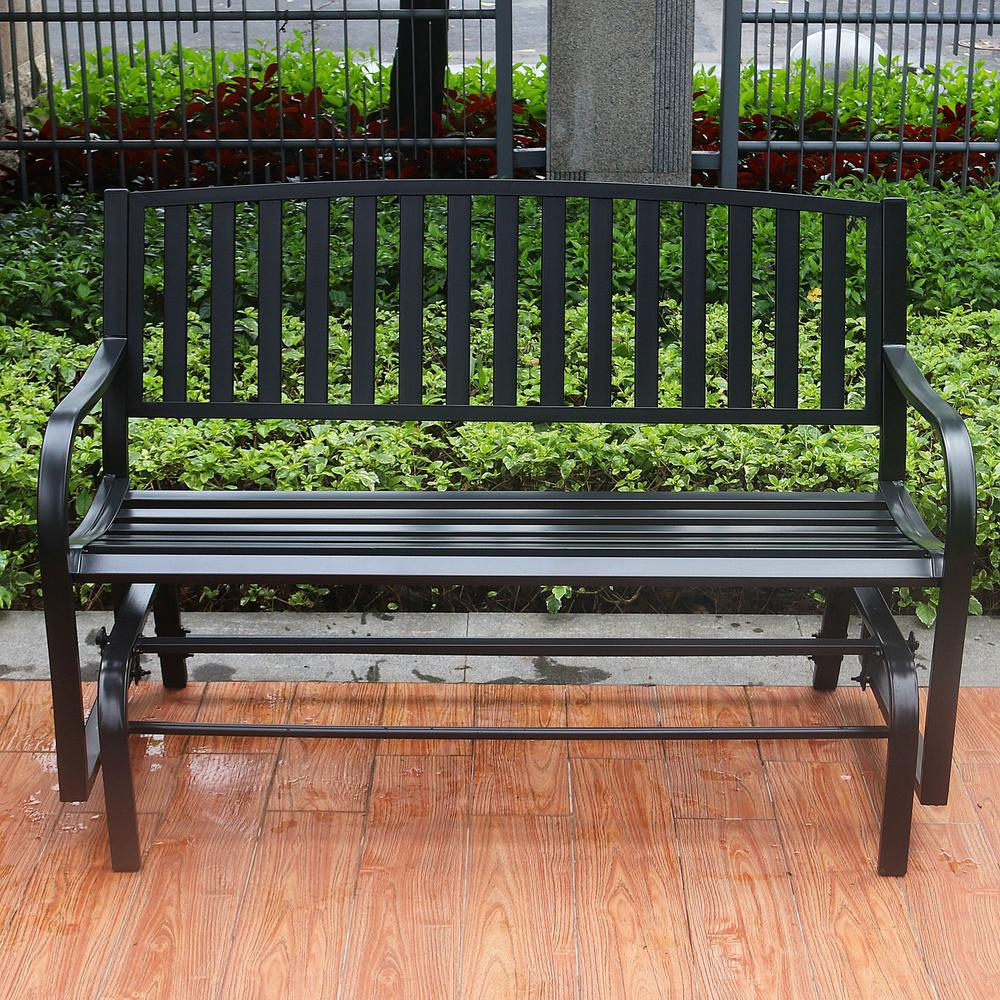 Maypex 4 Ft Outdoor Patio Steel Glider Porch Chair Loveseat Bench 300200 The Home Depot