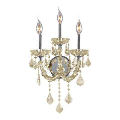 Lyre Collection 3-Light Chrome with Golden Teak Crystal Sconce