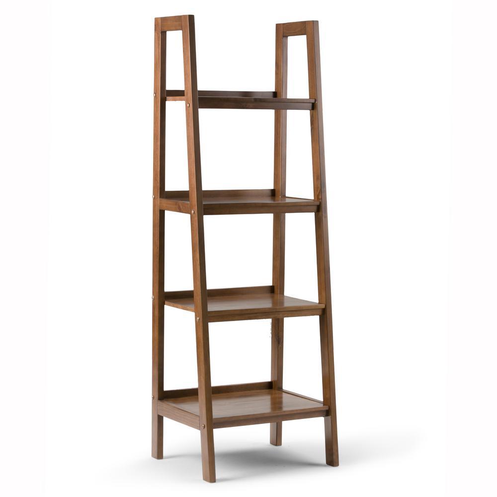 Sawhorse Solid Wood 72 in. x 24 in. Modern Industrial Ladder Shelf in Medium Saddle Brown