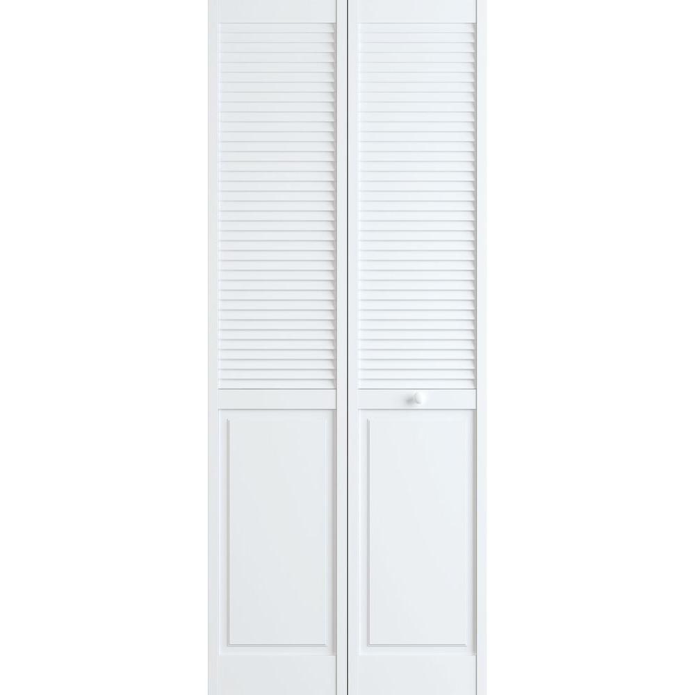 36 in. x 80 in. Louver/Panel Pine White Interior Closet Bi-fold Door