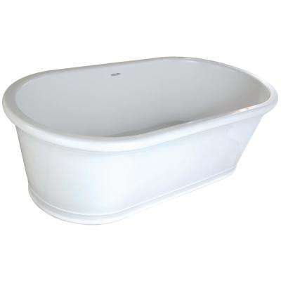 Tribeca 5.5 ft. Solid Surface Flatbottom Non-Whirlpool Freestanding Bathtub in White