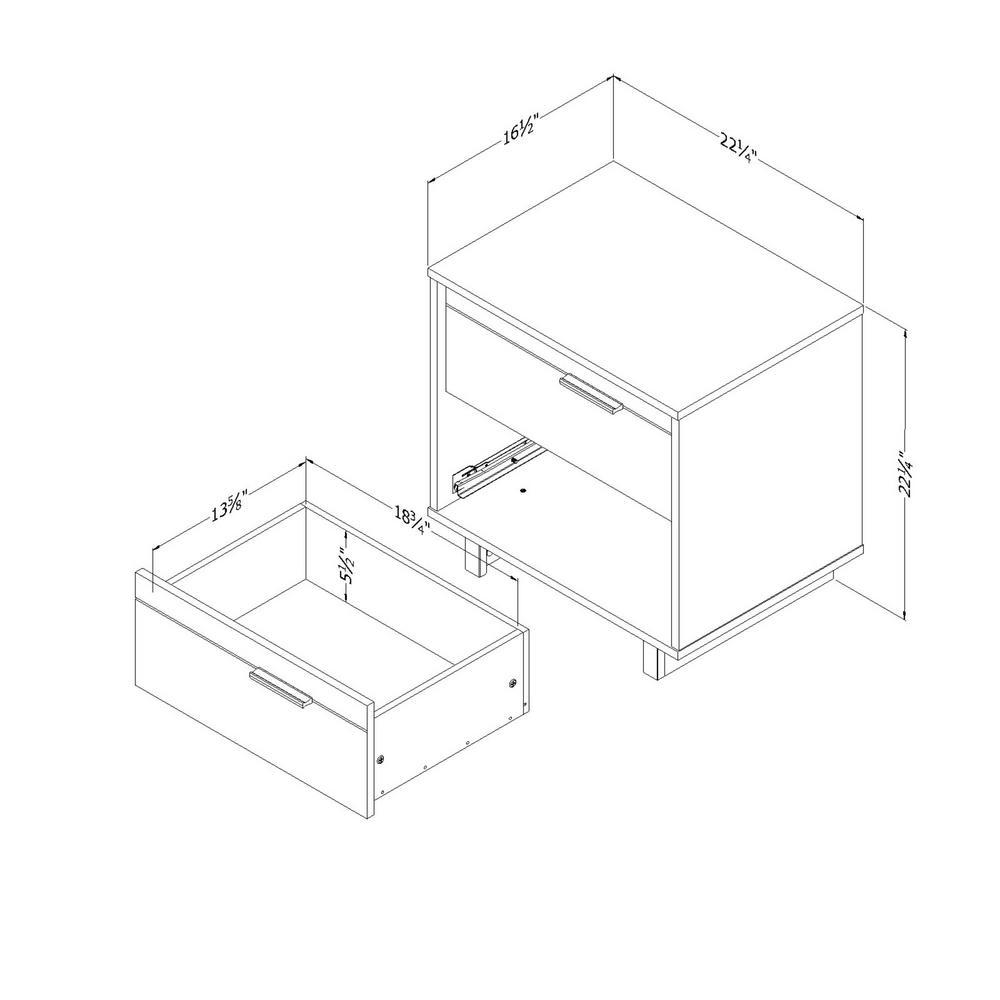 Fynn 2-Drawer Gray Oak Nightstand