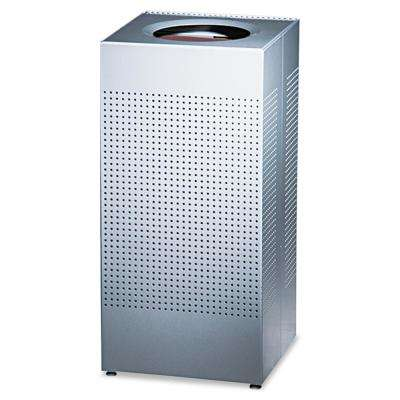 Silhouette 16 Gal. Silver Square Open Top Trash Can