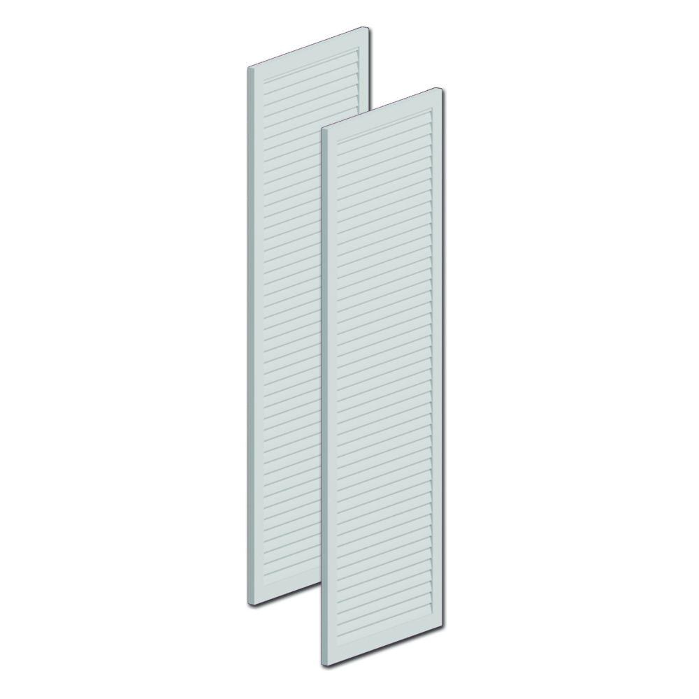 Fypon 60 in. x 16 in. x 1 in. Polyurethane Louvered Shutters without Center Rail Pair