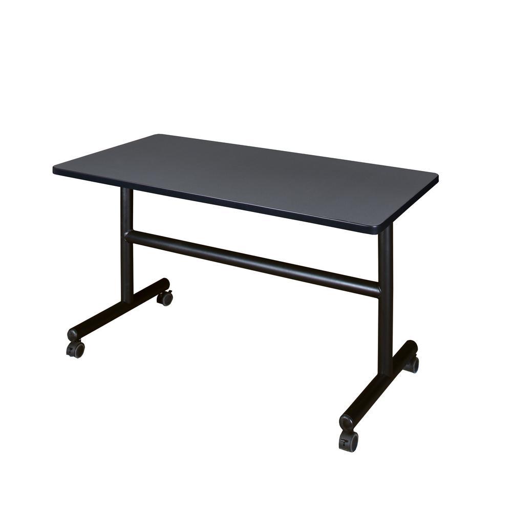 Kobe Grey 48 in. W x 30 in. D Flip Top Mobile Training Table