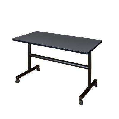 Kobe Grey 48 in. W x 30 in. D Flip Top Mobile Training Table