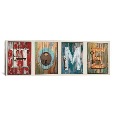 "24 in. x 72 in. ""HOME"" by Jamie Macdowell Printed Canvas Wall Art"