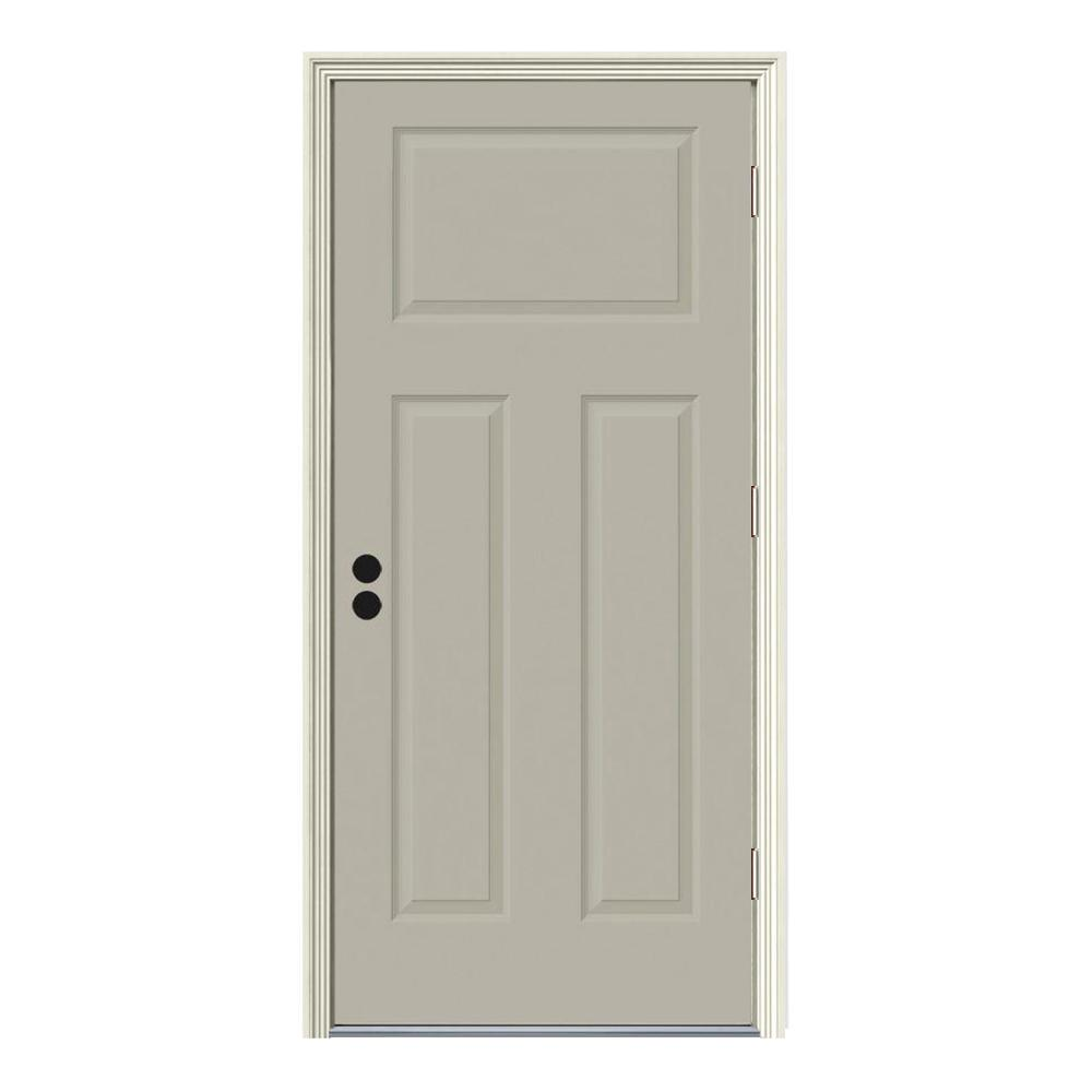 34 in. x 80 in. 3-Panel Craftsman Desert Sand Painted Steel