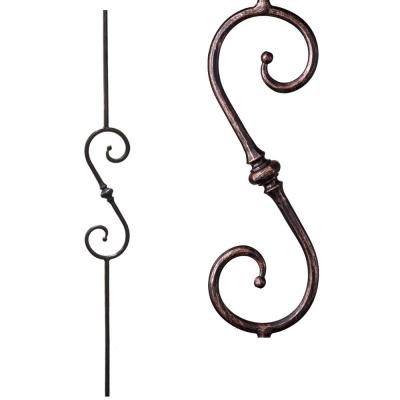 Tuscan Round Hammered 44 in. x 0.5625 in. Oil Rubbed Bronze Single Knuckle Scroll Solid Wrought Iron Baluster