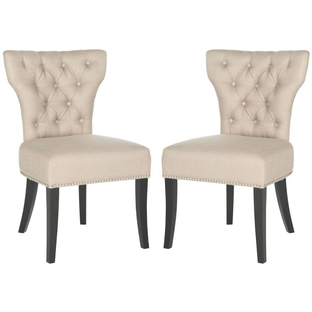 Dharma Biscuit Beige and Black Polyester Tufted Side Chair (Set of