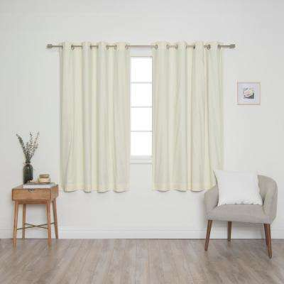 Ivory Solid Cotton Blackout Thermal Grommet Curtain Panel Set - 52 in. x 63 in. (2-Panel)